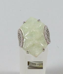 Ring aus 925er Silber mit hellgrünem Edelstein, Gr. 57/Ø 18 mm  (da5205)