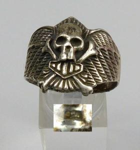 Biker-Ring aus 925 Silber, Totenkopf, Gr. 72/Ø 22,9 mm  (da4660)