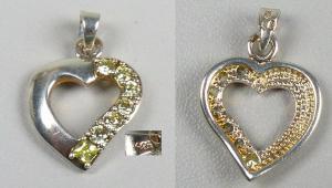 Herz-Anhänger aus 925er Silber mit Bergkristallen   (da4643)