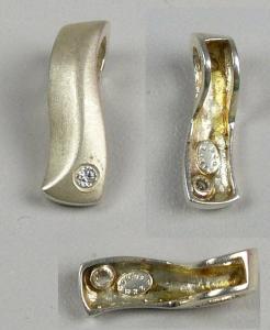 Anhänger aus 925er Silber mit weißem Edelstein   (da4620)