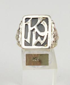 Ring aus 835 Silber mit Monogramm KW, Gr. 63/Ø 20,1 mm  (da4293)