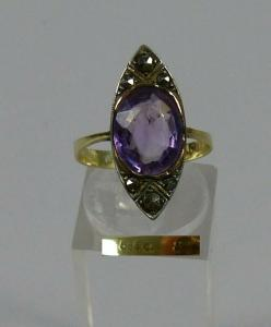 Zarter Art Déco Ring 585 Gold  Amethyst u. Markasiten Gr. 58/Ø 18,4 mm  (da5689)