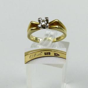 Ring 585er Gold mit Diamant 0,14 ct., Gr 51 (d1426)