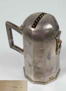 Original alte Spardose aus massivem 900 Silber von C. Weishaupt (da5720)