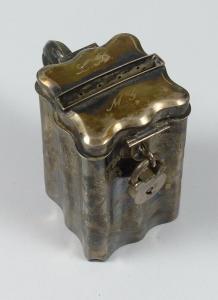 Sehr alte Spardose aus massivem Silber Barock Biedermeier???  (da5718)