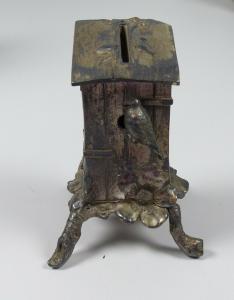 original alte Spardose in Form eines Vogelhauses   (da5714)