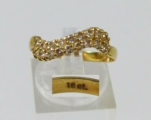 Ring aus 18 ct.  750 Gold mit Zirkonia, Gr. 60/Ø 19,1 mm  (da5712)
