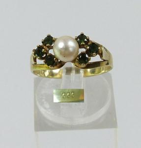 Ring aus 333 Gold mit Smaragde und Perle, Gr. 55/Ø 17,5 mm  (da5695)