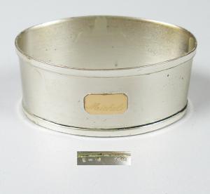 Serviettenring aus 800er Silber mit Goldauflage graviert Michele (da5734)