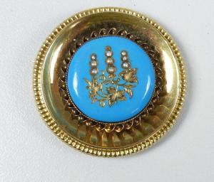 Tolle Biedermeier-Brosche aus 585 Gold.  (da5733)