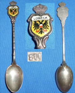 Alter Kaffeelöffel/Sammlerlöffel aus 800 Silber Lübeck