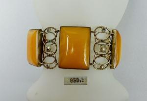 Antikes Armband Bernstein/Amber Butterscotch in 835 Silber gefasst  (da5835)