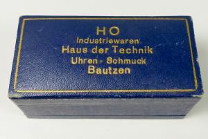 Alte Schmuckschachtel/Schmucketui mit DDR Werbung HO Bautzen (da5832)