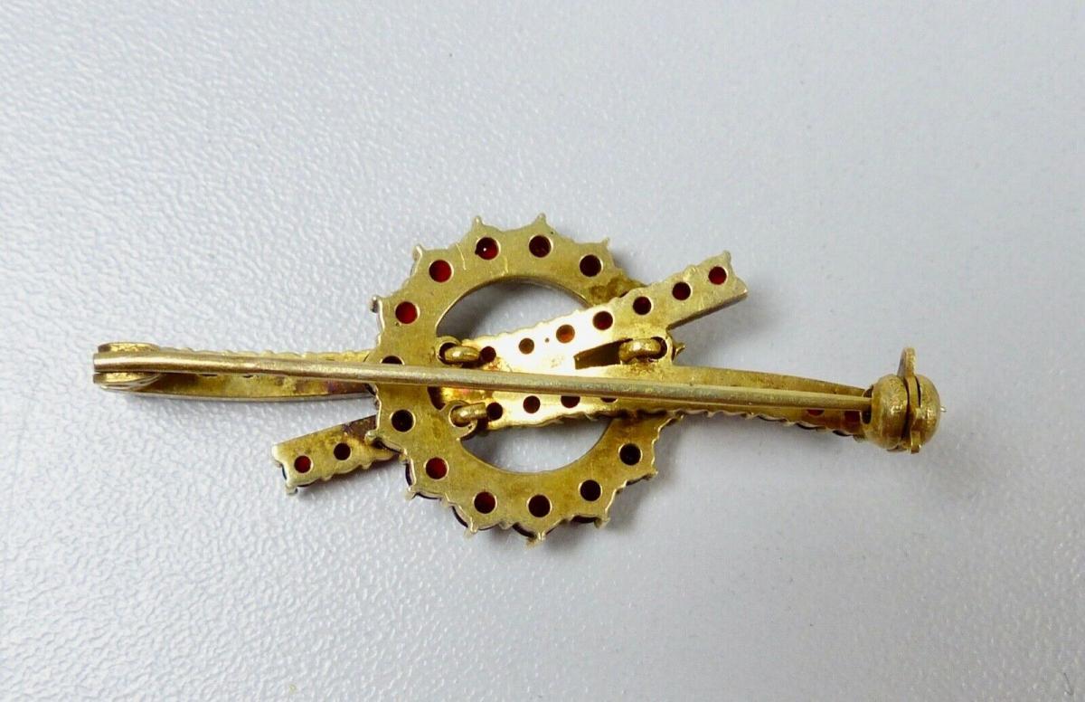 Granat Brosche aus 800 Silber vergoldet mit Granate (da5865) 1