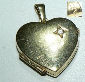 Herz-Anhänger/Medaillon für Bilder aus 333er Gelbgold mit Zirkonia (da4263)
