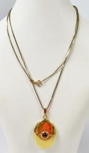 Kette aus 925 Silber vergoldet mit Anhänger Medaillon aus 935 Silber (da5895)
