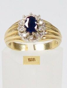 Ring aus 585 Gold mit Saphir und 10 Diamanten 0,2 ct, Gr. 53/Ø 16,8 mm  (da5922)