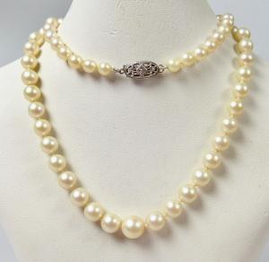 Zuchtperlenkette Perlen-Kette mit Schloß aus 925 Silber Sterlingsilber  (da5920)