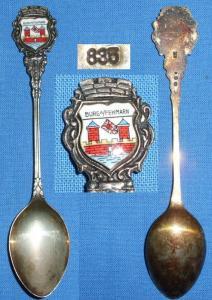 Alter Sammler-Andenken-Löffel Burg a./Fehmarn 835 Silber m. Wappen aus Emaille