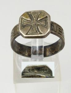 Ring mit EK aus 800er Silber Kriegssiegel 1915, Gr. 57/Ø 18,1 mm  (da4529)