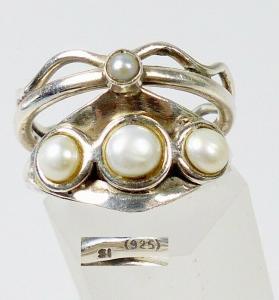 Ring aus 925 Silber mit Perlen, Gr. 56/Ø 17,8 mm  (da5942)