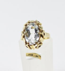 Ring aus 333er Gold mit hellem Aquamarin, Gr. 53/Ø 16,8 mm  (da5940)