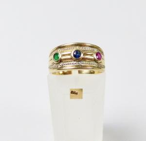 Ring aus 333er Gold mit Smaragd, Saphir und Rubin, Gr. 54/Ø 17,2 mm  (da5939)