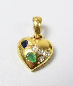 Herz Anhänger aus 333 Gold mit Saphir, Smaragd, Diamanten  (da5934)