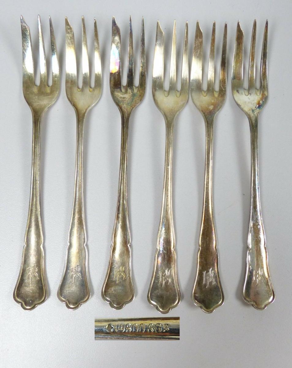 6 Kuchengabeln SGS Görlitzer Silberwarenfabrik aus 800 Silber  (da5411) 0