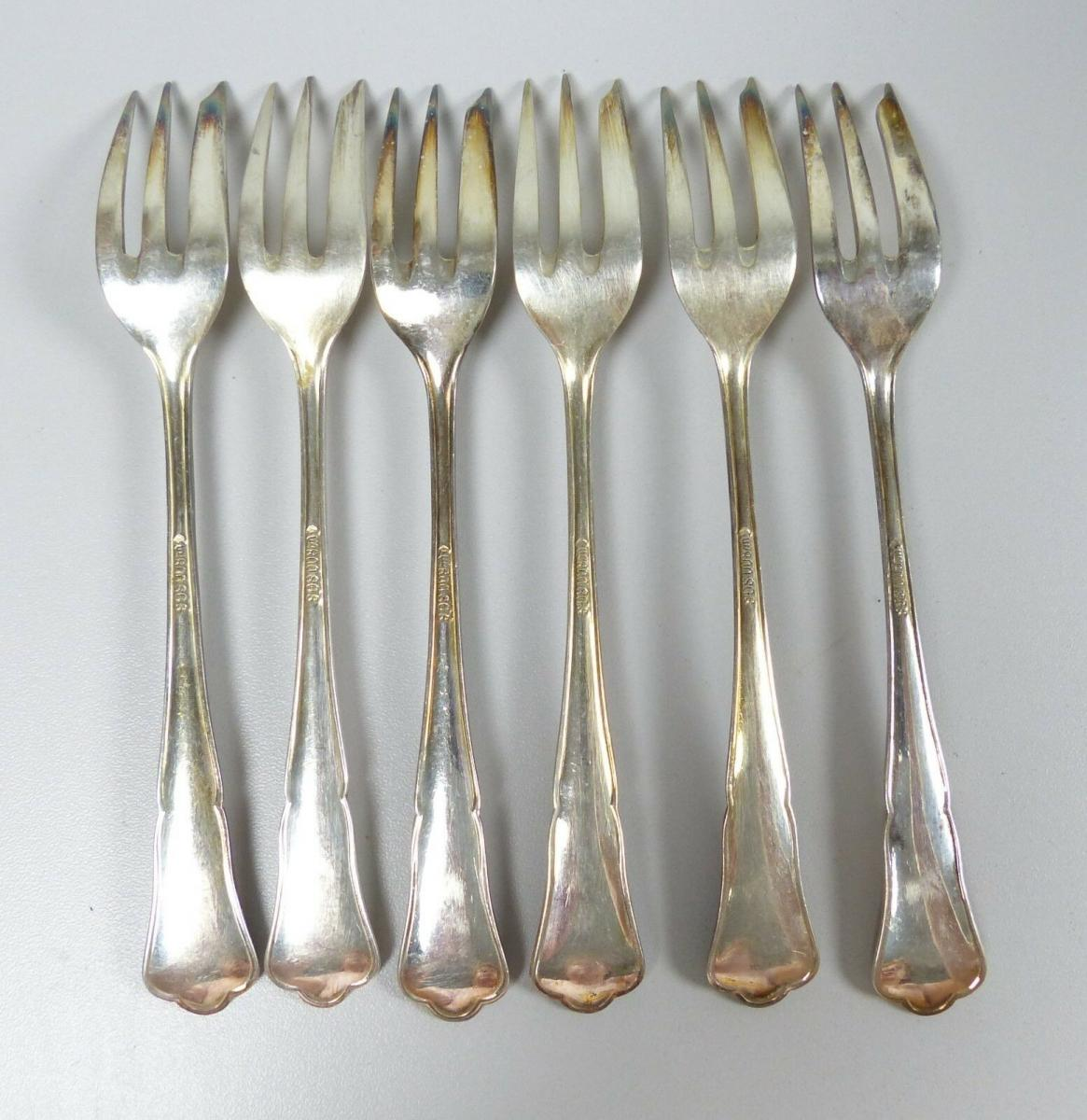 6 Kuchengabeln SGS Görlitzer Silberwarenfabrik aus 800 Silber  (da5411) 2
