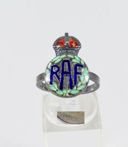 Ring 2. WK Royal Air Force aus Silber emailliert, Gr. 55/Ø 17,5 mm  (da5957)
