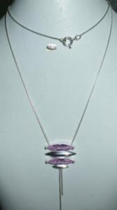 Collier aus 925 Silber mit Kristall rosa neuwertig aus Geschäftsauflösung