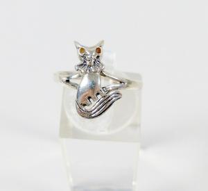 Ring aus 925 Silber mit Katze, Gr. 55/Ø 17,5mm  (da5986)