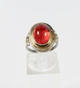 Ring aus 835 Silber mit Bernstein/Amber, Gr. 52,5/Ø 16,6 mm  (da5984)