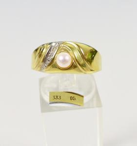Ring aus 333 Gold mit Perle und winzigem Diamant, Gr. 64/Ø 20,3 mm  (da5980)