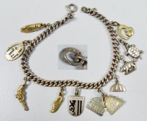 Bettelarmband aus 835 Silber mit 9 Anhängern          (da6008)