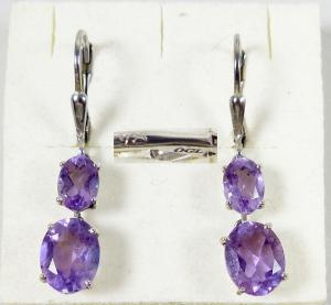 Original alte Ohrringe/Hänger aus 925 Silber mit Amethyste  (da6006)
