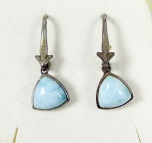 Original alte Ohrringe/Hänger aus 925 Silber mit Türkis  (da6005)