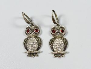 Original alte Ohrringe/Hänger aus 925 Silber Eulen  (da6004)
