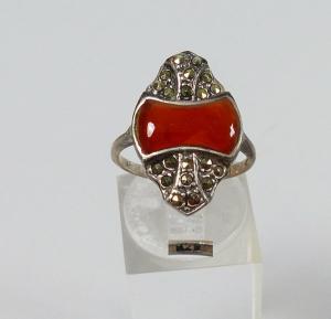Ring 925 Silber mit Achat und Markasiten , Gr. 54   (c7452)