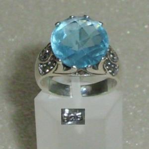 Ring 925er Silber m. hellbl. Zirkonia + Markasiten, Gr. 58, Ø 18,5 mm (da4048)