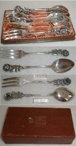 Augsburger Rose 6 Kaffeelöffel und 6 Kuchengabeln 100 Silberauflage