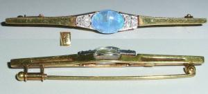 Tolle Brosche aus 585er Gelbgold mit Opal und Diamanten 0,06 ct.  (da4157)