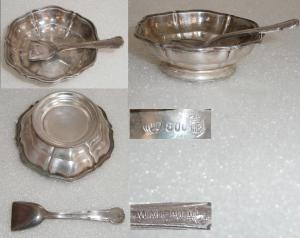 Salznäpfchen (Herrmann Bauer) aus 800 Silber mit WMF-Löffel 90 Silberauflage