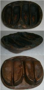 Toller alter Aschenbecher aus Bronze Wildscheinhufe/Jagdaschenbecher