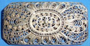 sehr feine Brosche 835 Silber mit Markasiten        (c2414)