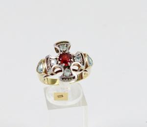 Ring aus 925 Silber vergoldet mit Granat, Aquamarinen, Gr. 66/Ø 21 mm  (da6035)