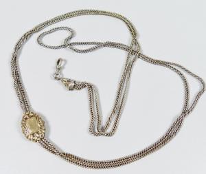 Sehr alte lange Uhrkette aus Silber   (da6029)