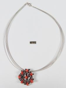 Silber Halsreif/Collier mit Anhänger 925 Silber mit Korallen signiert   (da6028)