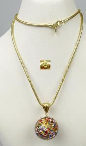 Millefiori-Kugel und Kette aus 925er Silber vergoldet   (da5088)